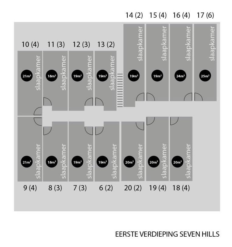 Plattegrond Seven Hills Groesbeek, 1e verdieping